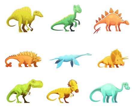 dinosaurus: Funny retro style dinosaurus cartoon characters figures of largest prehistoric animals collection abstract isolated vector illustration