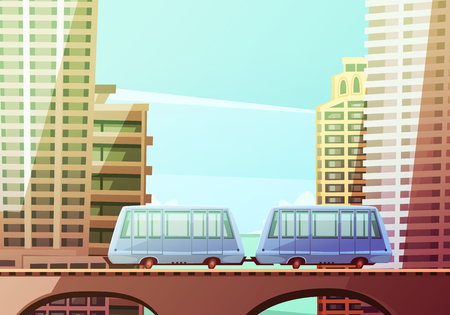 suspended: Miami downtown cartoon composition with two wagons of suspended monorail on front and skyline background flat vector illustration