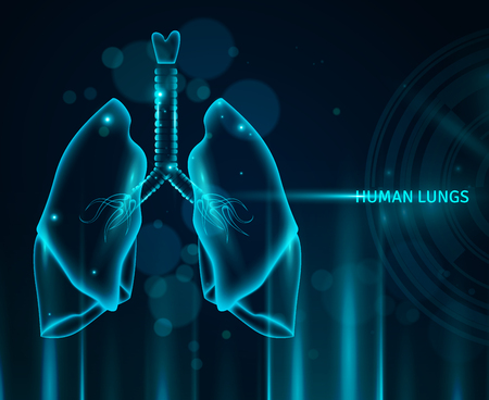 Transparent human lungs in blue color background with light effects and bokeh flat vector illustration