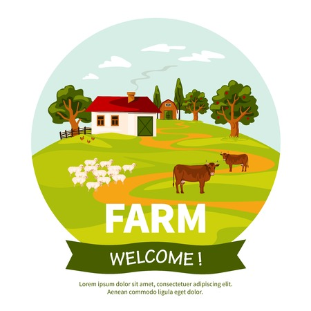farmhouse: Beautiful farm landscape poster with farmhouse sheep and cows on green grass flat vector illustration