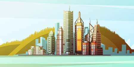 HONG KONG: View from sea to panorama of Hong Kong center with skylines and bridge background flat vector illustration