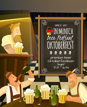 beer house: Octoberfest festival in pub cartoon background with beer and people vector illustration
