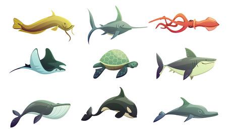 海洋水中の動物漫画のスティングレイ サメ カメ メカジキ レトロな文字とイカ魚分離ベクトル図