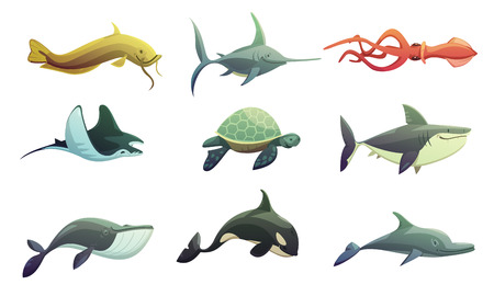 Ocean animali sottomarini personaggi dei cartoni animati Retro insieme con pastinaca pesce spada squalo tartaruga e calamari pesce isolato illustrazione vettoriale Archivio Fotografico - 62300875