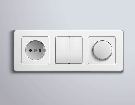 switch: Realistic white plastic panel with socket and single round and double rectangular switches on grey wall vector illustration