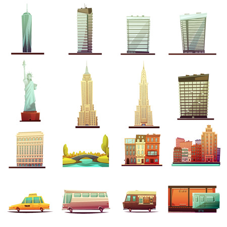 New York City bâtiments monuments attractions touristiques et éléments de transport rétro collection d'icônes de dessin animé illustration vectorielle isolée