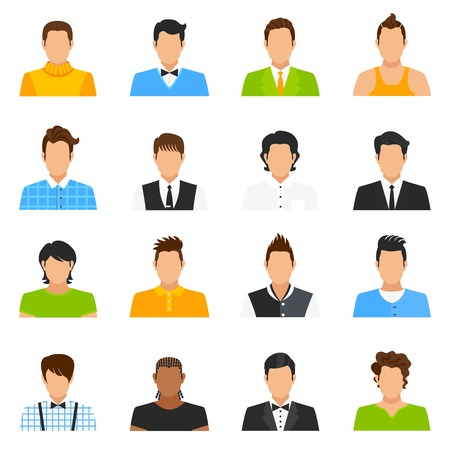 Man avatar icons set with hairstyle and clothes flat isolated vector illustration