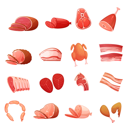 Meat icons set of gastronomic delicatessen with carbonate sausage frankfurters loin smoked fat isolated flat vector illustration