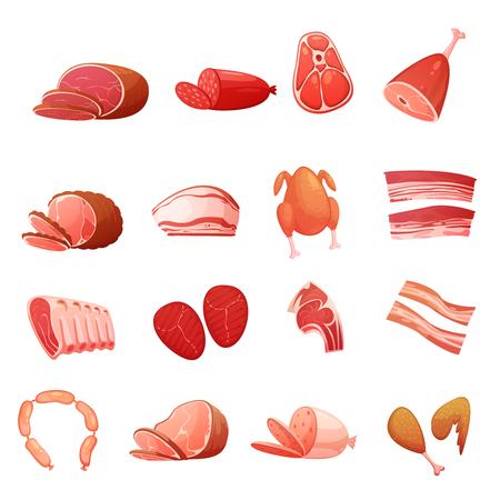 Vlees iconen set van culinaire delicatessen met carbonaat worst worstjes loin gerookt vet geïsoleerde flat vector illustratie