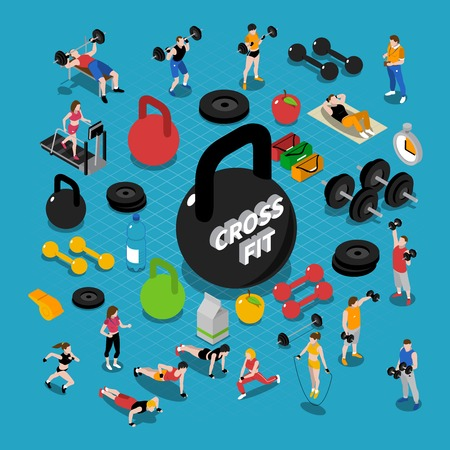 Gym and fitness isometric concept composition with training symbols isolated vector illustration Illustration