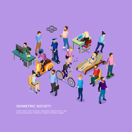 people  male: Isometric people society with group of male and female using different kinds of transport and electronic devices vector illustration