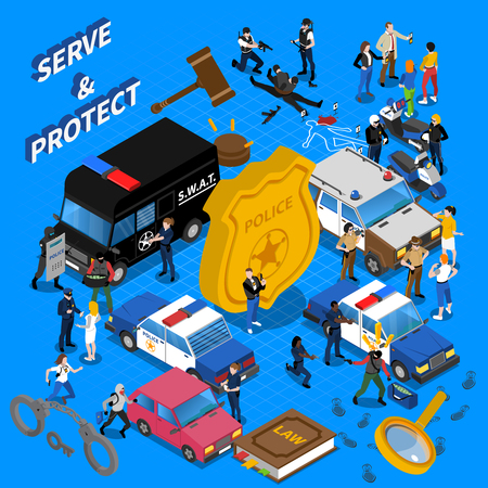 detention: Color isometric composition all police services policeman car court vector illustration Illustration