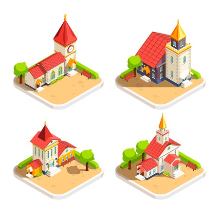 churchyard: Church historic religious building with steeple tower and churchyard 4 isometric icons set abstract isolated vector illustration