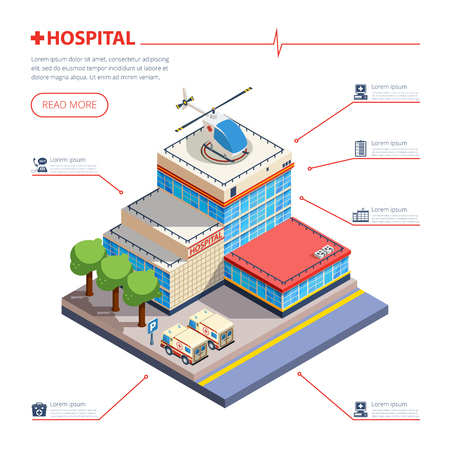 building entrance: Hospital building with entrance parking ambulance and helicopter isometric vector illustration