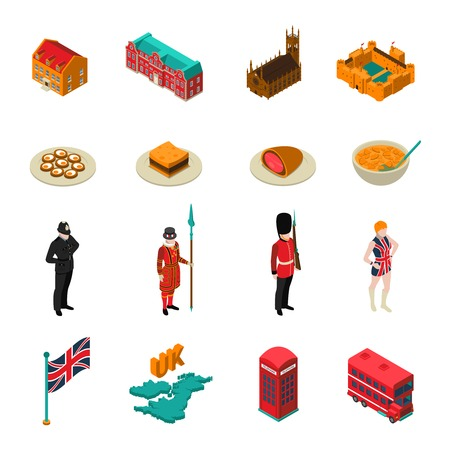 Colorful great britain isometric touristic set with british national cuisine architecture characters and symbols isolated on white background vector illustration Çizim