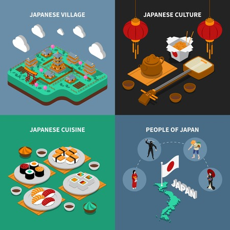 Colorful japan touristic isometric 2x2 icons set with japanese national cuisine culture people and village isolated vector illustration Illustration