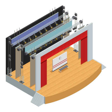 theatre: Stage for theater scenes with scenery decor elements and loop system for curtains isometric poster vector illustration