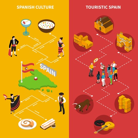 Touristic Spain isometric vertical banners set with culture symbols isolated vector illustration