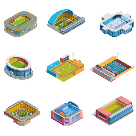 Isometric images set of different sport stadiums for football basketball baseball hockey and other isolated vector illustration Vetores