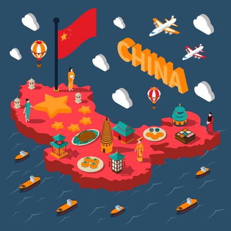 China toeristische isometrische kaart met kleurrijke Chinese cultuur elementen op zee achtergrond vector illustratie