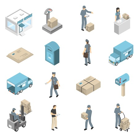 parcels: Post office service isometric icons collection with parcels packages and letters transportation and delivery isolated vector illustration