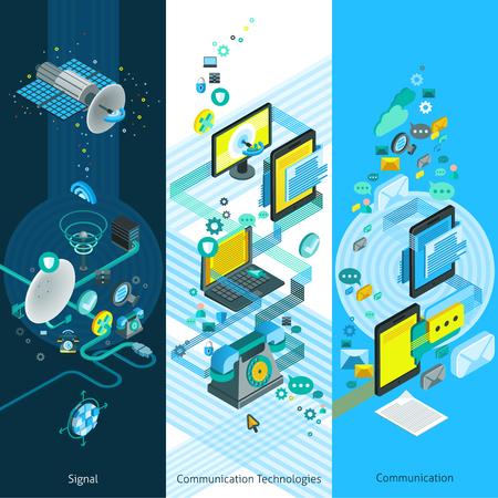 isométricos de Telecomunicaciones banderas verticales con elementos de red globales modernos equipos de comunicación y la tecnología de nube ilustración vectorial Ilustración de vector