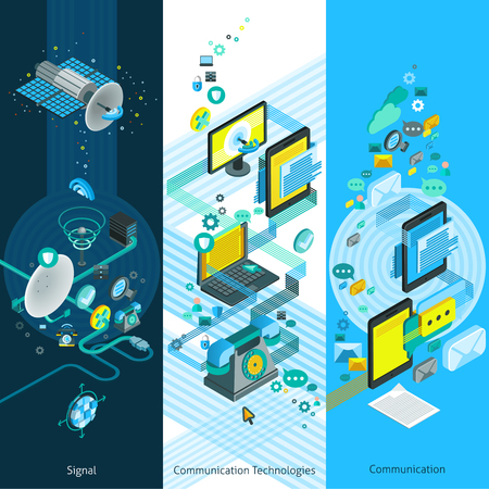 Telecommunication isometric vertical banners with global network elements modern communication equipment and cloud technology vector illustration Illustration