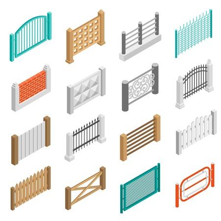 Urban en landbouwgrond vastgoed omheiningen elementen uit hout baksteen en beton isometrische geïsoleerd set vector illustratie
