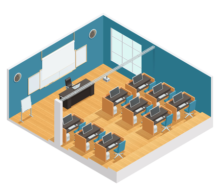 speakers desk: Interior poster of modern classroom with computers desks chalkboard and magnetic board projector and screen isometric vector illustration