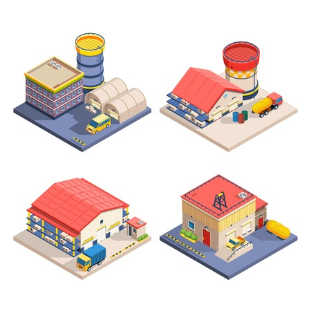 outdoor goods: Warehouse buildings of different size with freight transport isometric icons set on white background isolated vector illustration
