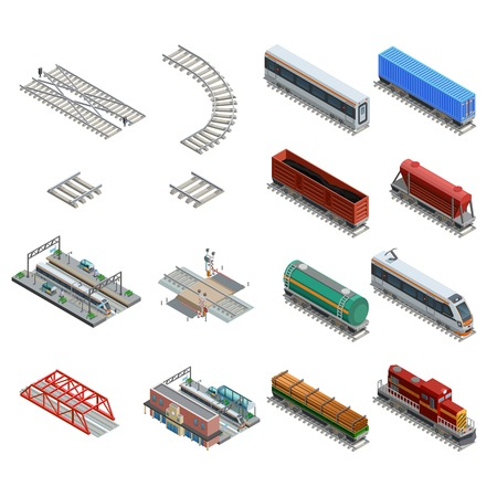 ferrocarril: Iconos isométricos conjunto de diferentes elementos de la estación de tren de tren locomotora como rieles de carro y otros aislados ilustración vectorial