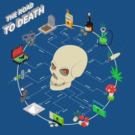 deadly: Drugs isometric flowchart with skull and deadly addiction symbols vector illustration