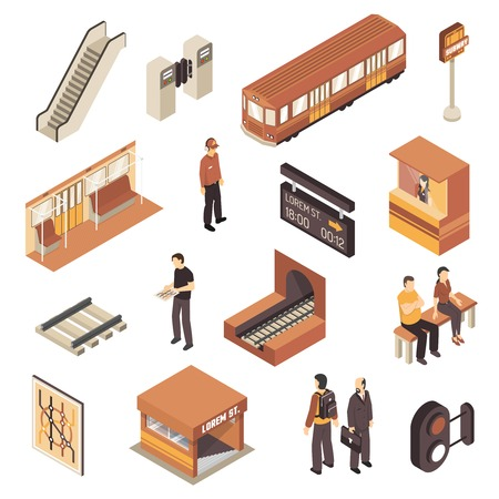 schedule system: Subway rapid transit elements isometric collection with metro station entrance railway map and escalator isolated vector illustration