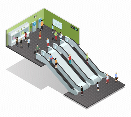subway entrance: Color isometric composition depicting subway entrance underground stairs escalator vector illustration Illustration