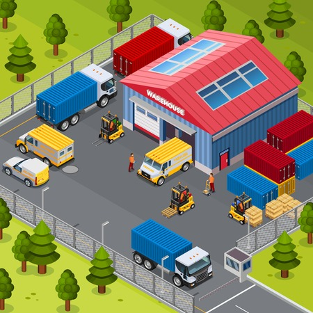 warehouse building: Warehouse building outside with delivery transport and workers vector illustration