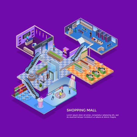 shop: One floor of shopping mall isometric concept with customers in supermarket clothing shop and skating rink on violet background vector illustration
