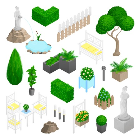 garden pond: Garden park landscape isometric elements set with plants flowers furniture and statues isolated on white background vector illustration