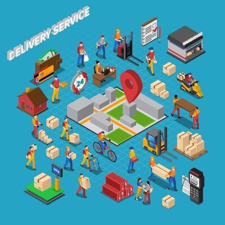 concept de service de livraison composition isométrique avec une cargaison d'entrepôt et les gens illustration vectorielle
