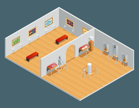 Isometric color illustration of museum interior with exhibit and painting vector illustration Illustration