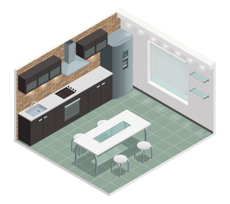 built: Modern family kitchen isometric view with counter built in oven and european style cabinets vector illustration Illustration