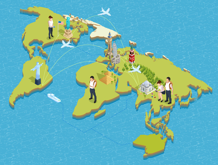 wonders: Isometric poster of global map with famous landmarks tourists flight paths and waterways on it vector illustration