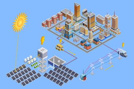 affiche isométrique de la ville moderne qui gagnent l'énergie de la station de l'électricité solaire avec des plaques de miroir illustration vectorielle