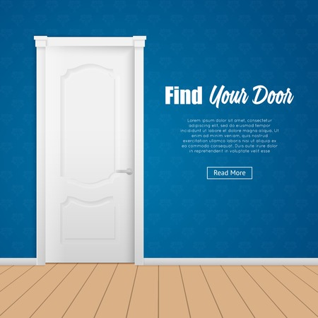 room door: Flat page with closed white house room door in blue wall vector illustration Illustration