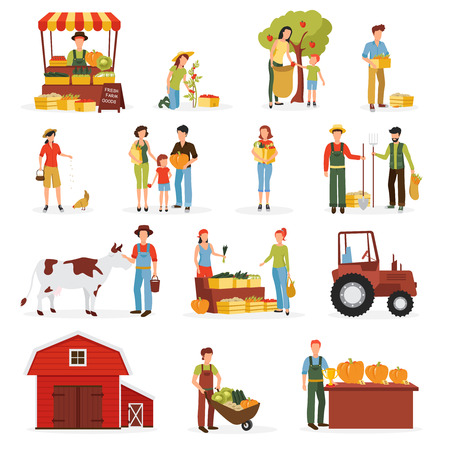 harvest time: Autumn harvest time on farm flat icons collection with tractor cow and orchard abstract isolated vector illustration