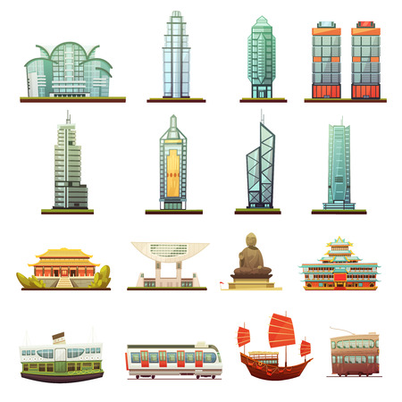 Hong Kong city landmarks temple buddha statue and transportation elements retro cartoon icons collection isolated vector illustration
