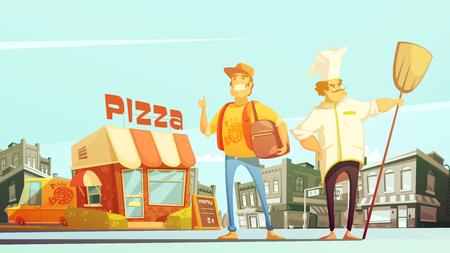 漫画のスタイルの配信とピザ屋町風景シェフ宅配便黄色いミニバスでのピザ配信フラット ベクトル図