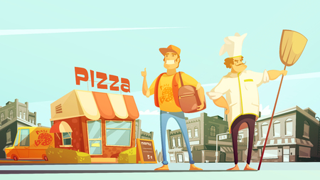 yellow landscape: Pizza delivery flat vector illustration in cartoon style with chef courier yellow minibus for delivery and pizzeria at town landscape