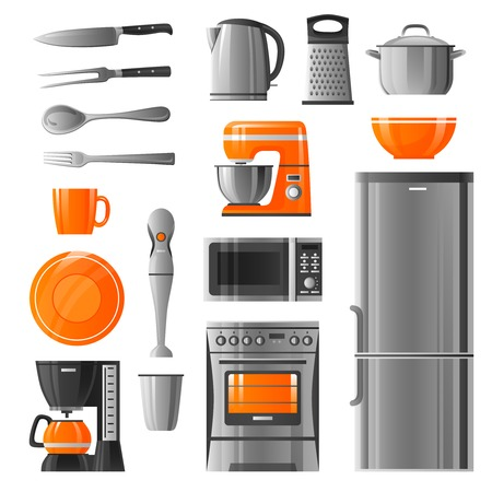 utensil: Appliances flat icons set in realistic style with microwave refrigerator stove  kettle mixer blender coffee machine  and kitchen utensil isolated vector illustration Illustration