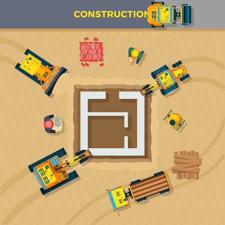 Construction process top view with plan and machines flat vector illustration Stock Illustratie