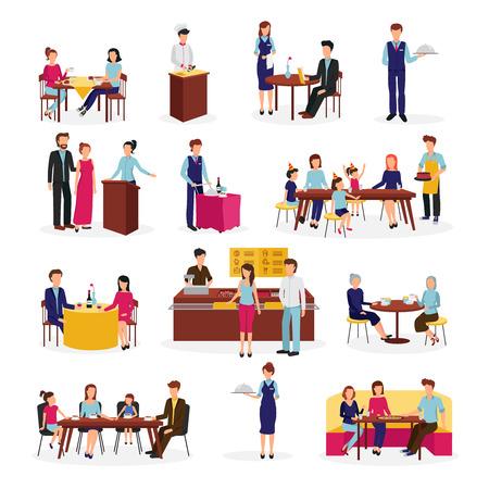 Les gens dans le restaurant plat icons set lors d'occasions spéciales dîner en famille avec des amis abstrait isolé illustration vectorielle Vecteurs